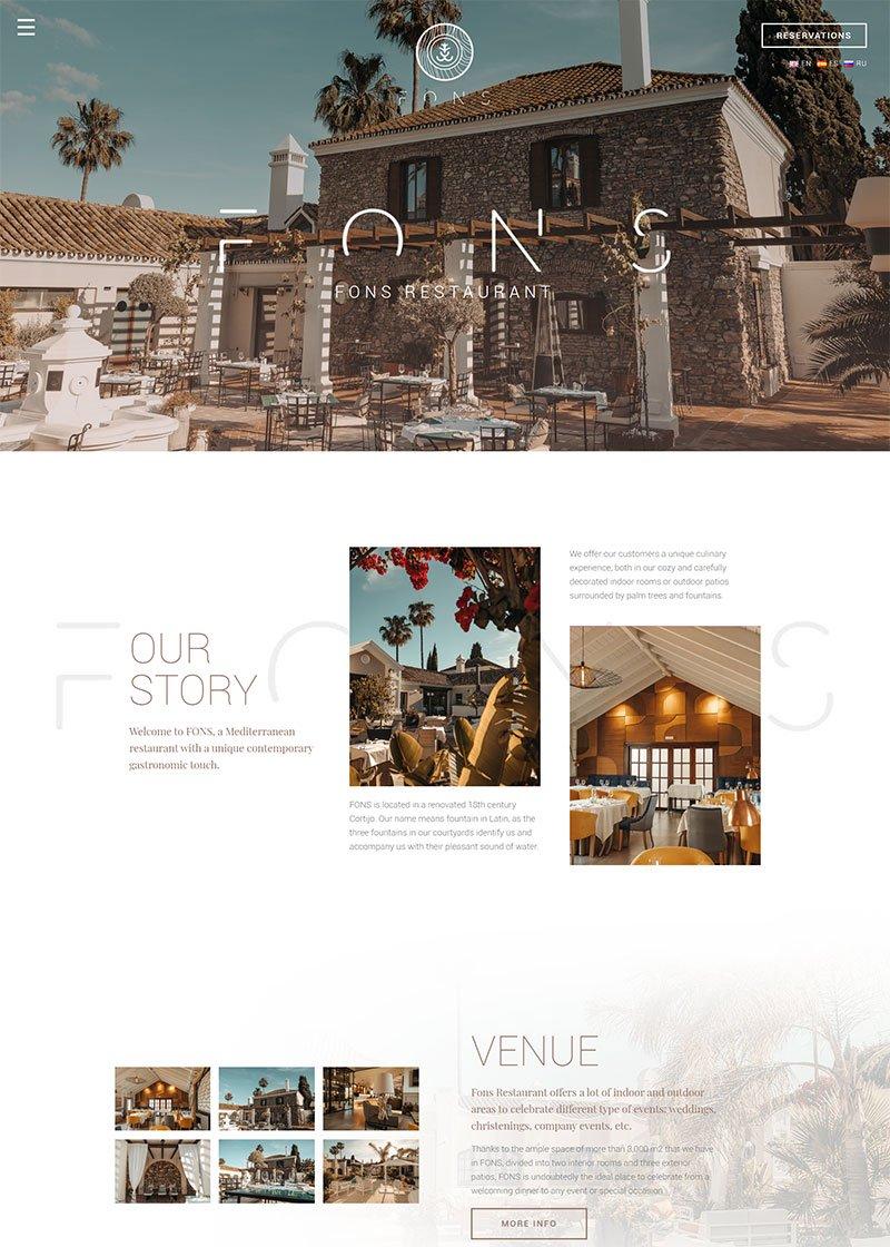 Fons homepage restaurante website design