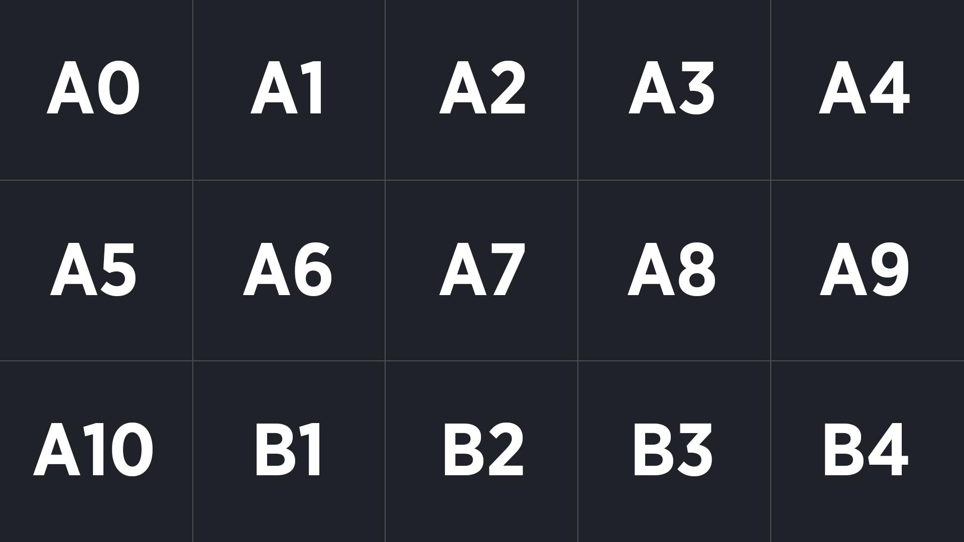 International Paper Sizes A0, A1, A2, A3, A4, A5, A6, A7, A8, A9, A10