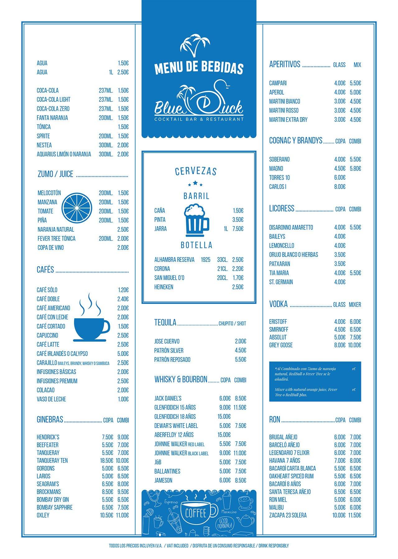 Drinks Menu design Blue Duck Restaurant menu