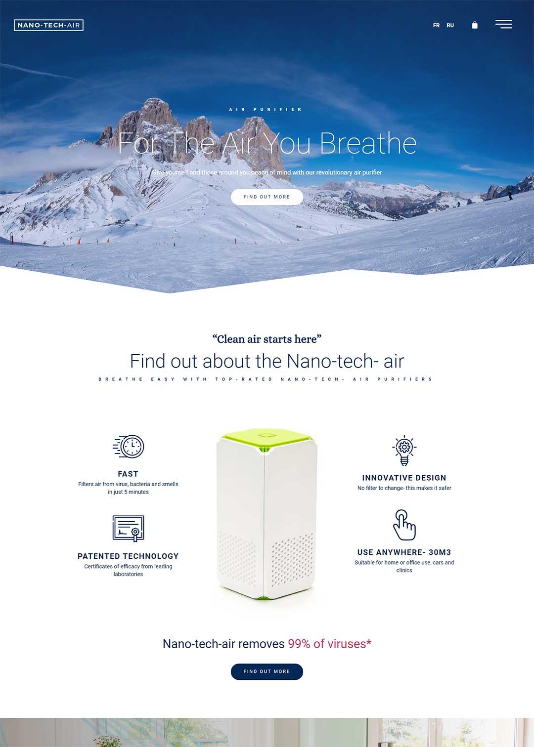 Homepage Nano-tech-air air purifier website design