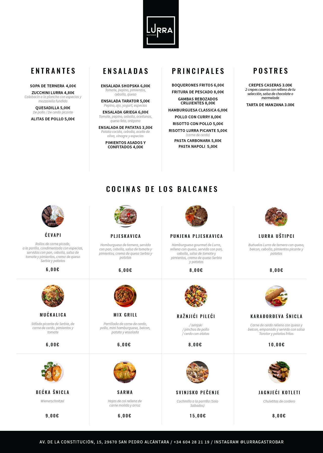 Lura gastro bar food menu design template