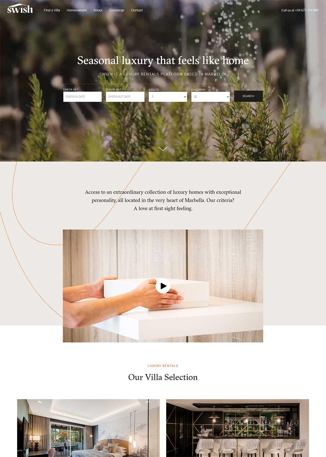 Swish Marbella Real Estate Homepage Rental Agency Website design