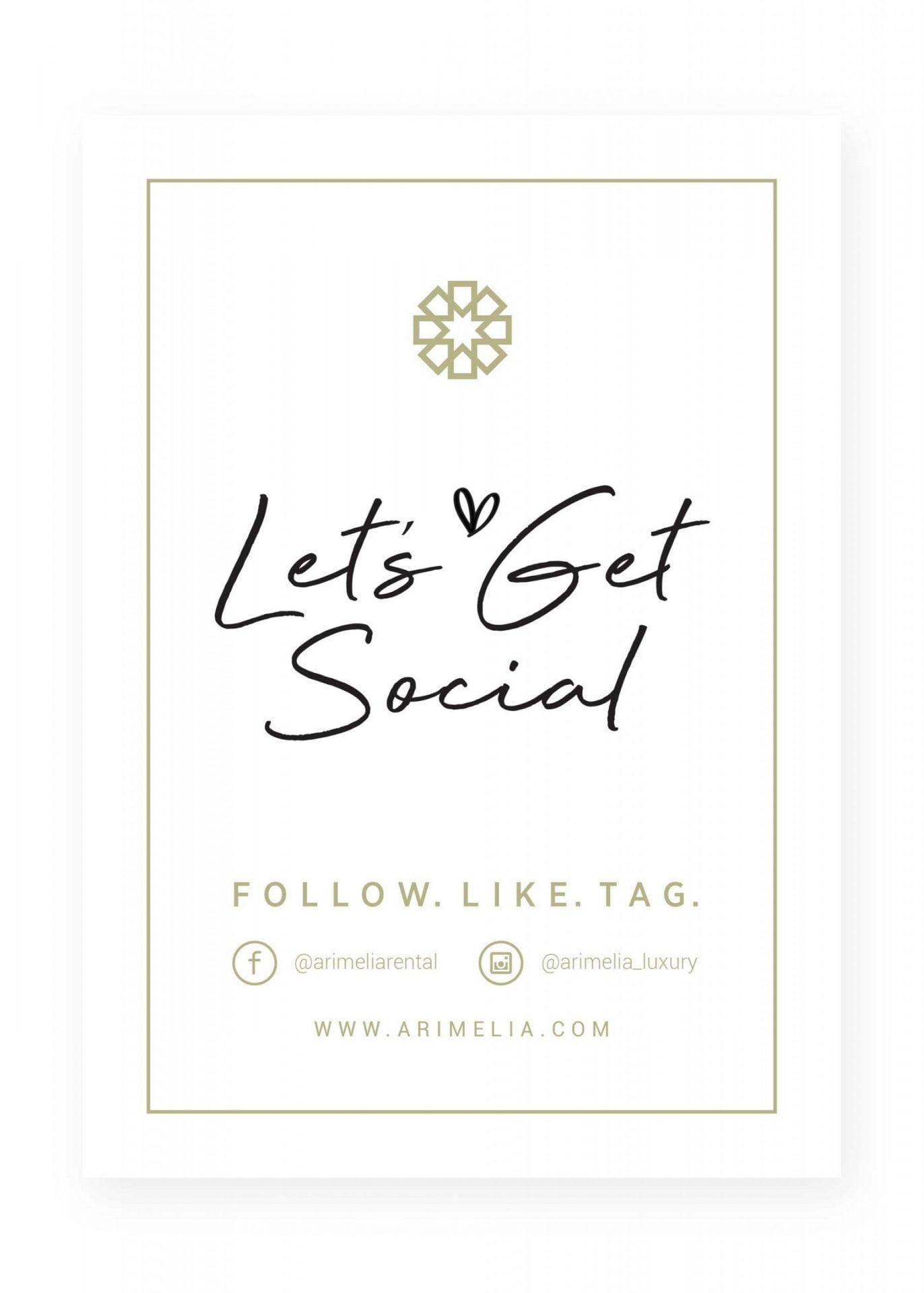 Arimelia Rental Lets Get Social Banner A5 Template design