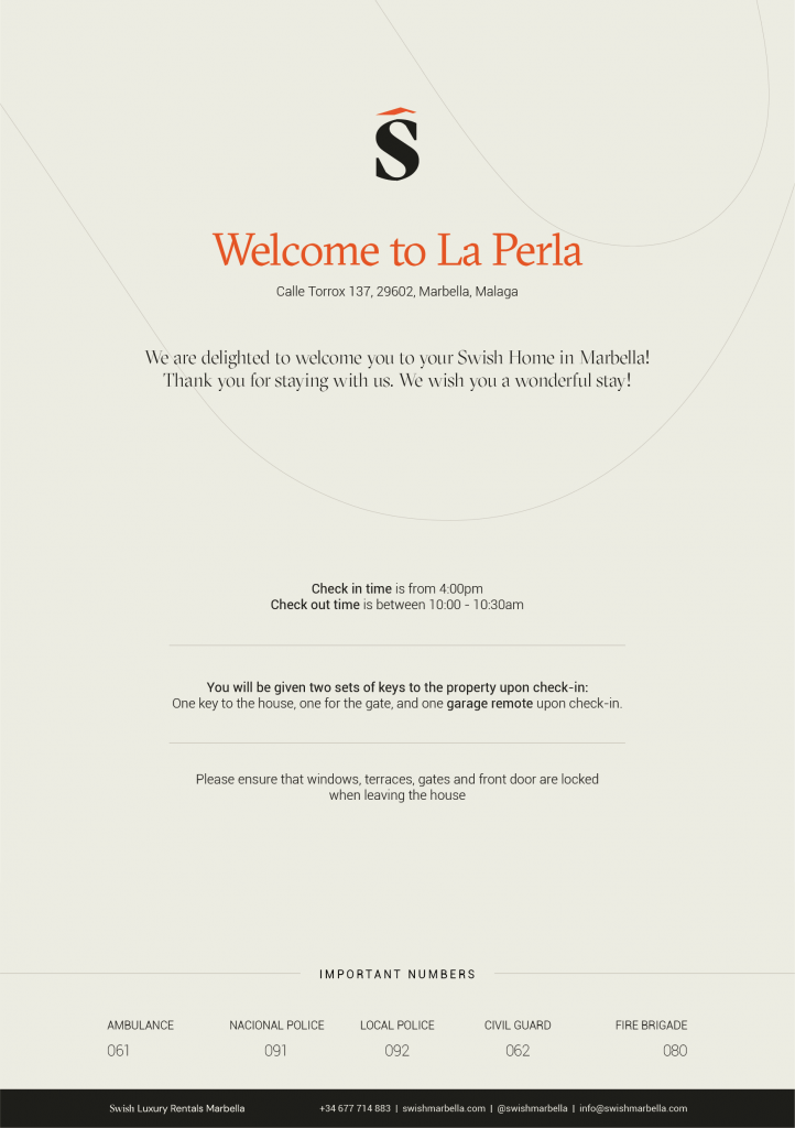 Villa Welcome Cards A5 Property Rentals info cards