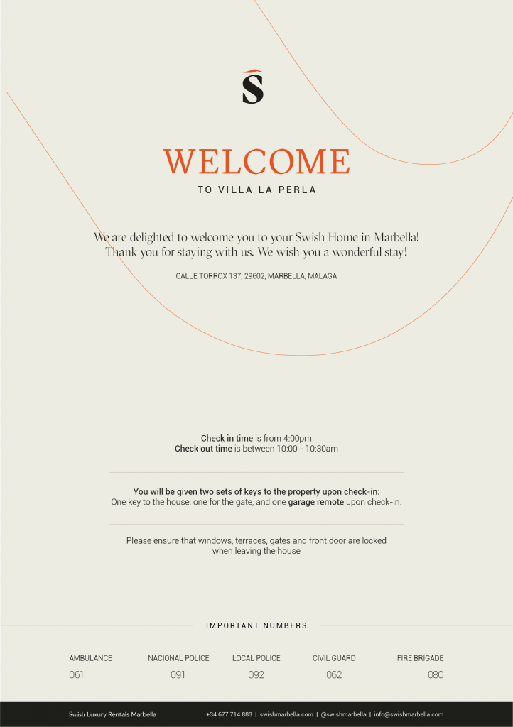 Villa Welcome Cards Property Rentals info cards